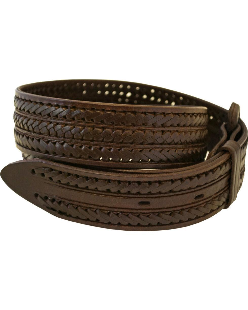 Western Express Men's Braided Leather Belt - Big, Brown, hi-res