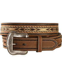 Nocona Aztec Horsehair Inlay Leather Belt, , hi-res