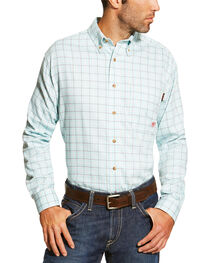 Ariat Men's Blue FR Rockford Work Shirt, , hi-res