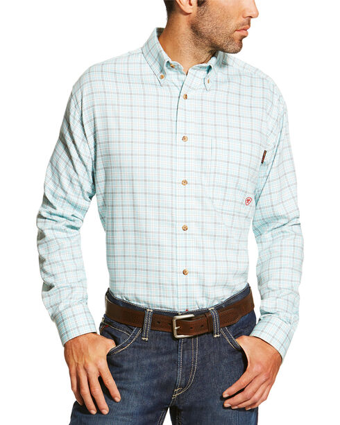 Ariat Men's Blue FR Rockford Work Shirt - Big and Tall, Blue, hi-res