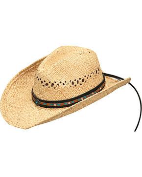 Blazin Roxx Women's Natural Turquoise Accents Raffia Hat , Natural, hi-res