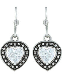 Montana Silversmiths Women's Pin Point Framed Heart Earrings , Silver, hi-res