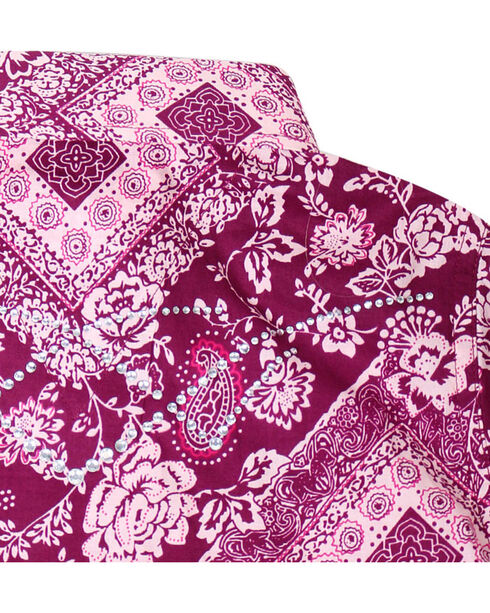 Shyanne® Girls' Paisley Bandana Print Long Sleeve Shirt, Magenta, hi-res