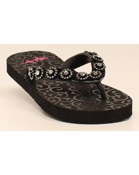 Blazin Roxx Marissa Girls' Flip Flops, Black, hi-res