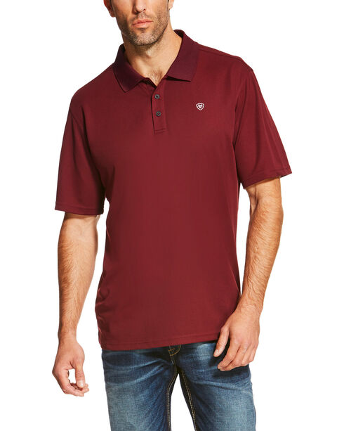 Ariat Men's Solid Short Sleeve Logo Polo, Wine, hi-res