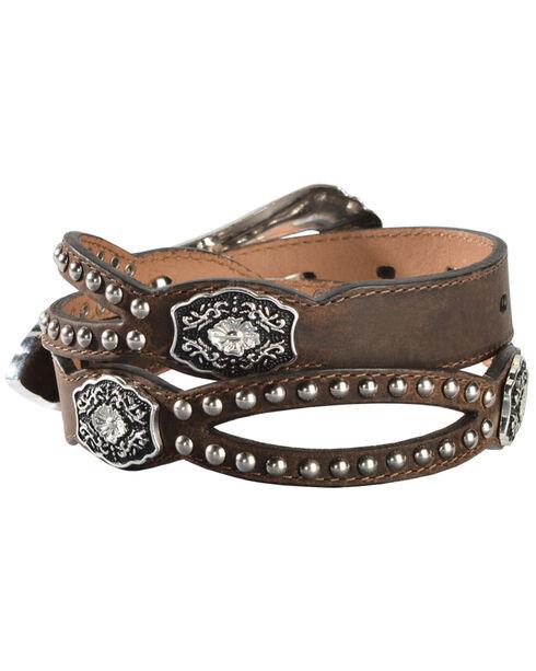Nocona Fancy Cutout Belt, Med Brown, hi-res