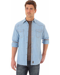 Wrangler Retro Men's Western Denim Print Long Sleeve Shirt, , hi-res