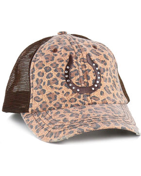Mega Cap Women's Canvas Leopard Print Ball Cap, Brown, hi-res