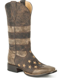 Roper Men's Brown Working Man's American Flag Boots - Square Toe , , hi-res