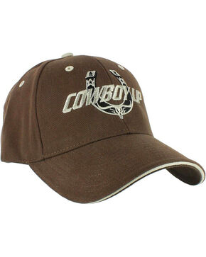 Cowboy Up Men's Embroidered Ball Cap, Brown, hi-res