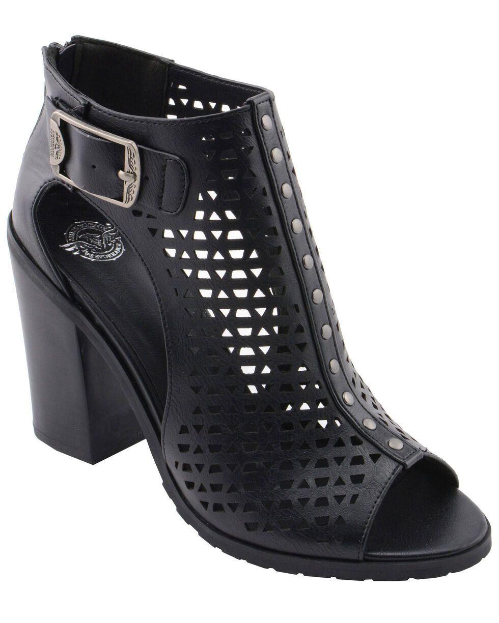 Milwaukee Performance Women's Platform Heel Mesh Top Sandals, Black, hi-res