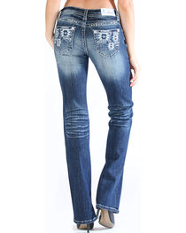 Grace in LA Women's Tribal Pocket Jeans - Boot Cut , , hi-res
