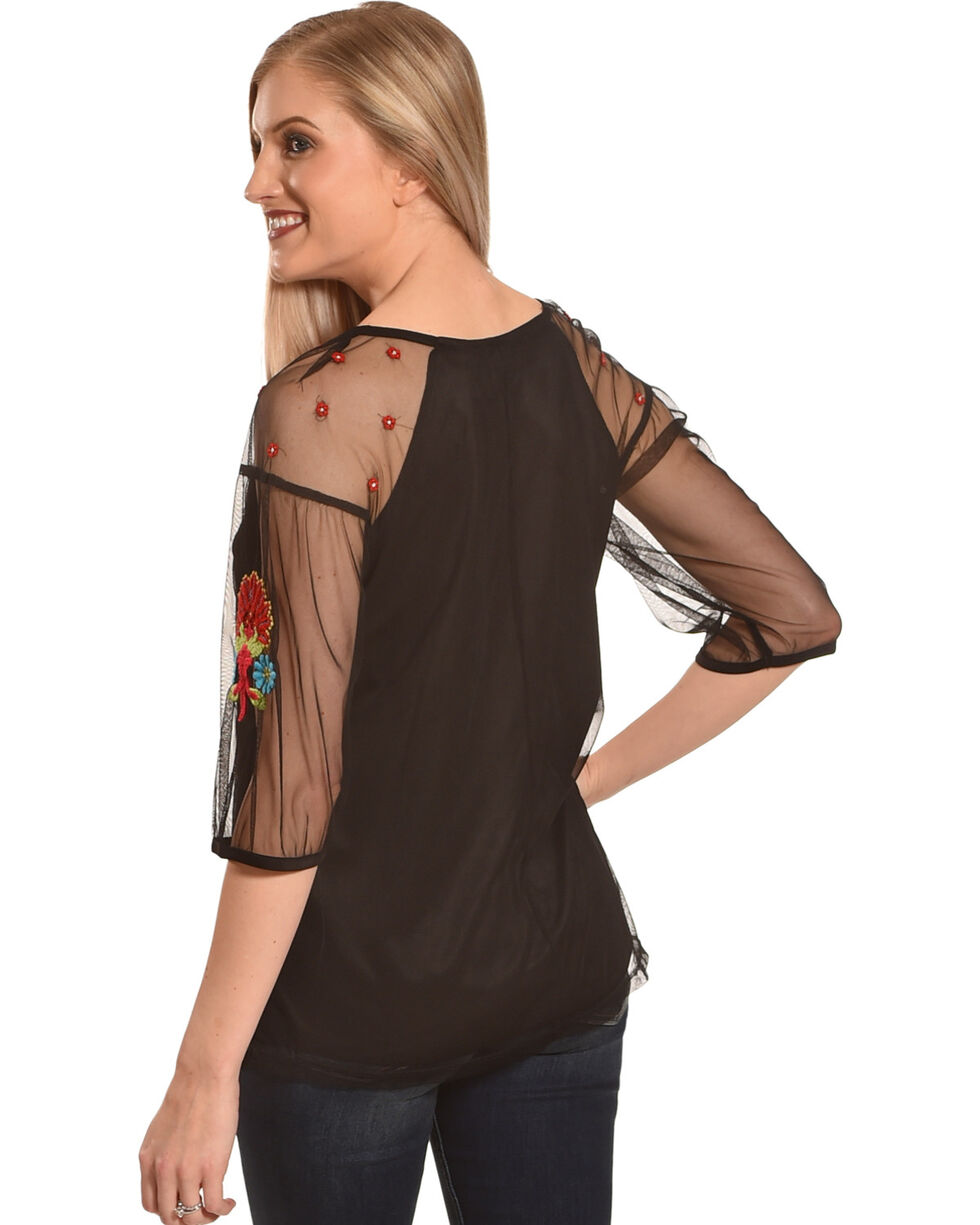 New Direction Sport Women's Black Embroidered Top , Black, hi-res