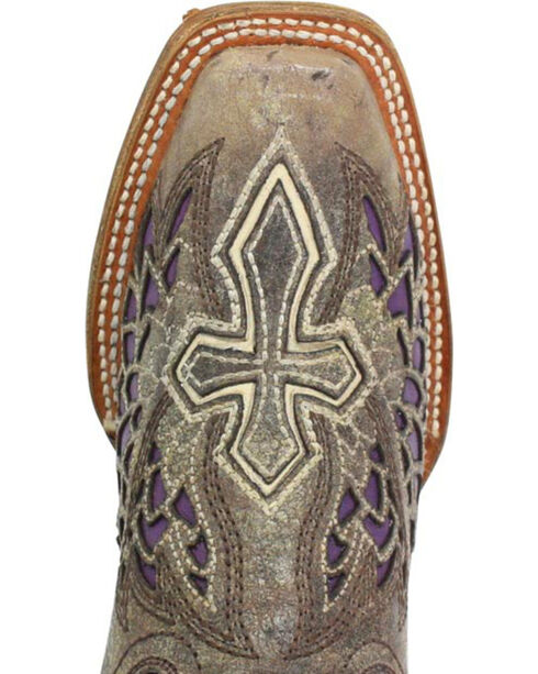 Corral Women's Square Toe Wing and Cross Inlay Western Boots, Brown, hi-res