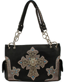 Blazin Roxx Cross Ornament Satchel, Black, hi-res