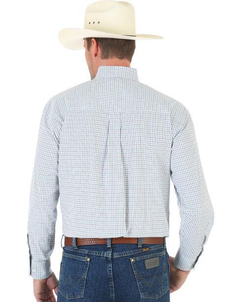 Wrangler George Strait White Plaid Pin Point Oxford Shirt, Blk/white, hi-res
