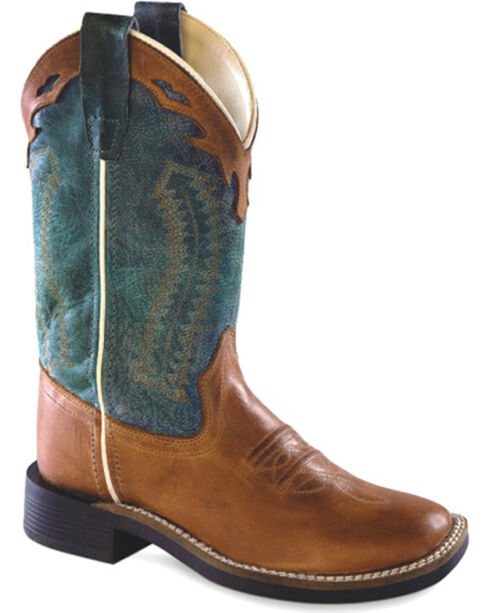 Cody James Boys' Brown & Teal Western Boots - Square Toe, Brown, hi-res