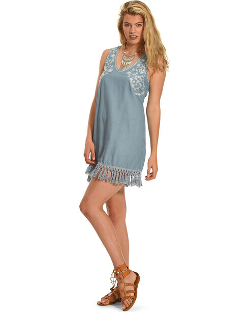 Polagram Women's Tassel Hem Dress , Indigo, hi-res