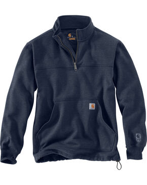Carhartt Men's Rain Defender Paxton Quarter Zip Sweatshirt, Navy, hi-res