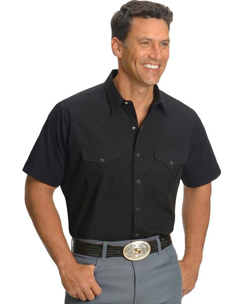 Ely Classic Western Shirt - Custom Fit, Neck Sizing, Black, hi-res