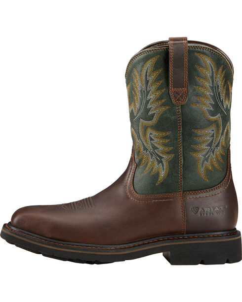Ariat Men's Sierra Steel Toe Work Boots, Dark Brown, hi-res