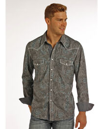 Rock & Roll Cowboy Men's Heavy Stitched Paisley Long Sleeve Shirt, , hi-res
