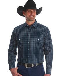 Wrangler Men's Navy Wrinkle Resistant Western Shirt , , hi-res