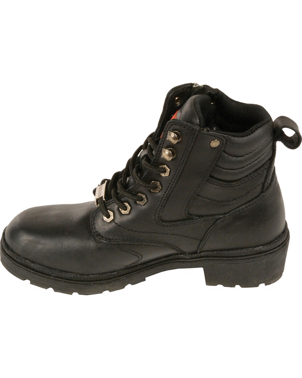 Milwaukee Leather Women's Black Side Zipper Boots - Round Toe - Wide, Black, hi-res