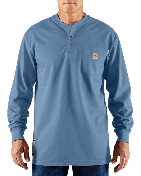 Carhartt Flame Resistant Long Sleeve Work Henley Shirt - Big & Tall, Med Blue, hi-res