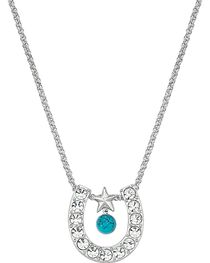 Montana Silversmiths Women's Horseshoe & Turquoise Necklace, , hi-res