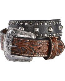 Nocona Kids' Hand Tooled Billets & Studded Belt, , hi-res