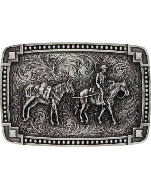 Montana Silversmiths Men's Tied at the Corners Attitude Pack Horse Belt Buckle, Silver, hi-res