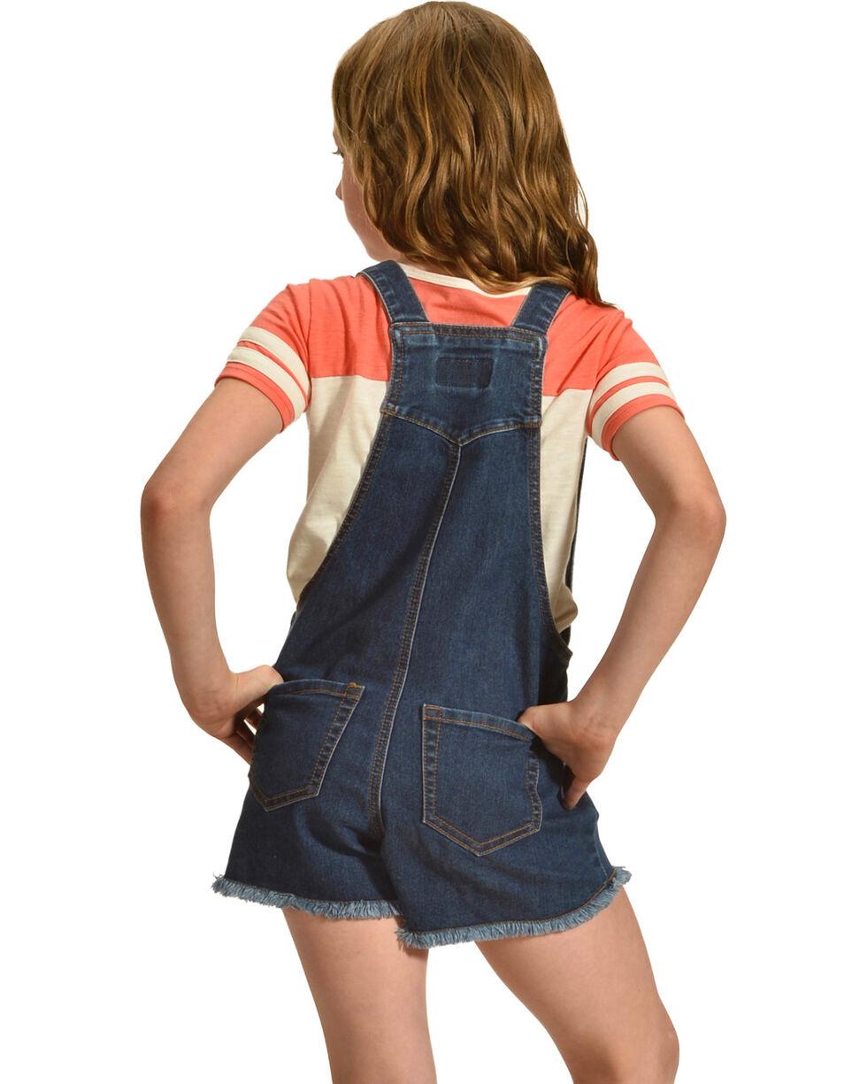 Shyanne Girls' Patch Denim Overalls, Blue, hi-res