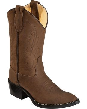 Old West Youth Distressed Western Boots, Brown, hi-res