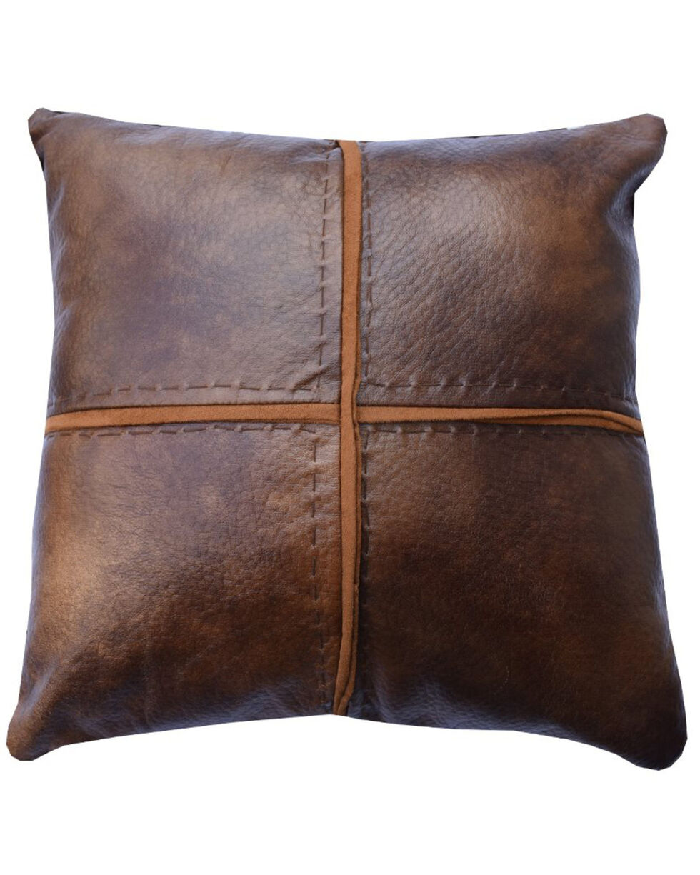 HiEnd Accents Brighton Faux Leather Cross Stitched Accent Pillow, Brown, hi-res