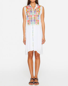 Johnny Was Women's Torreya Button Down Dress , White, hi-res