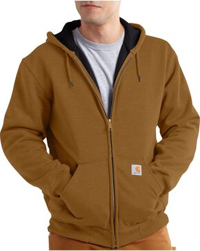 Carhartt Men's Hooded Zip-Up Sweatshirt, Brown, hi-res