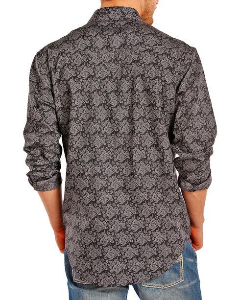 Rock & Roll Cowboy Men's Paisley Patterned Long Sleeve Shirt, Black, hi-res