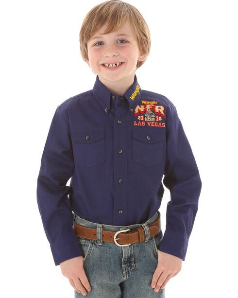 Wrangler Boys' NFR Logo Shirt, Navy, hi-res