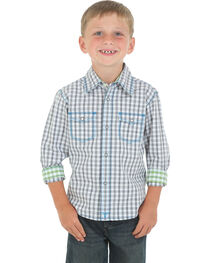Wrangler 20X Boys' Grey and White Check Western Shirt, , hi-res
