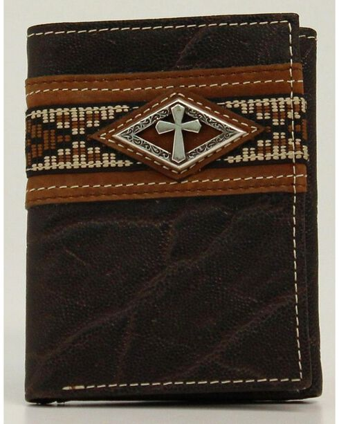 Ariat Ribbon Tri-Fold Wallet, Brown, hi-res