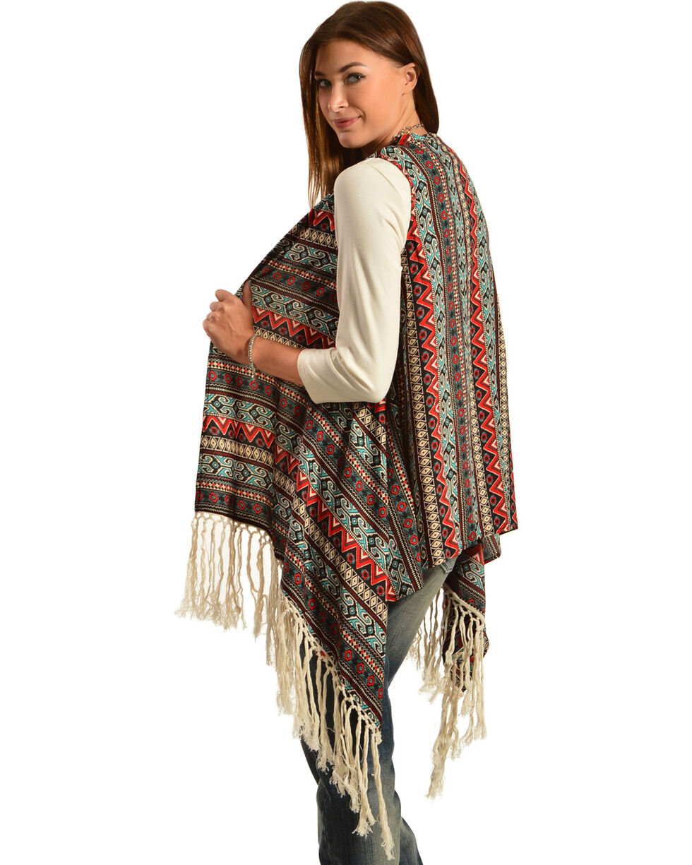R Cinco Ranch Women's Allie Aztec Draped Fringe Vest, Print, hi-res