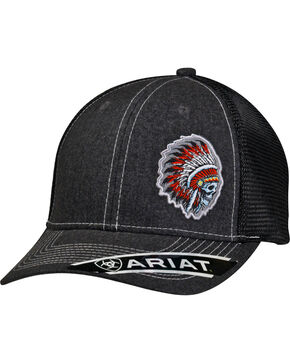 Ariat Men's Skull Indian Headdress Ball Cap, Grey, hi-res