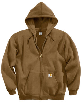 Carhartt Men's Midweight Hooded Zip-Front Sweatshirt, Brown, hi-res