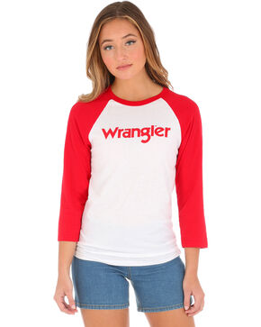 Wrangler Women's Raglan Baseball Tee, Red, hi-res