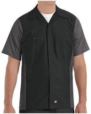 Red Kap Men's Crew Short Sleeve Shirt - Big & Tall , Black, hi-res