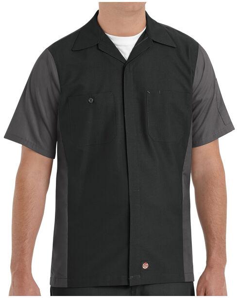 Red Kap Men's Crew Short Sleeve Shirt - Big & Tall , Black, hi-res
