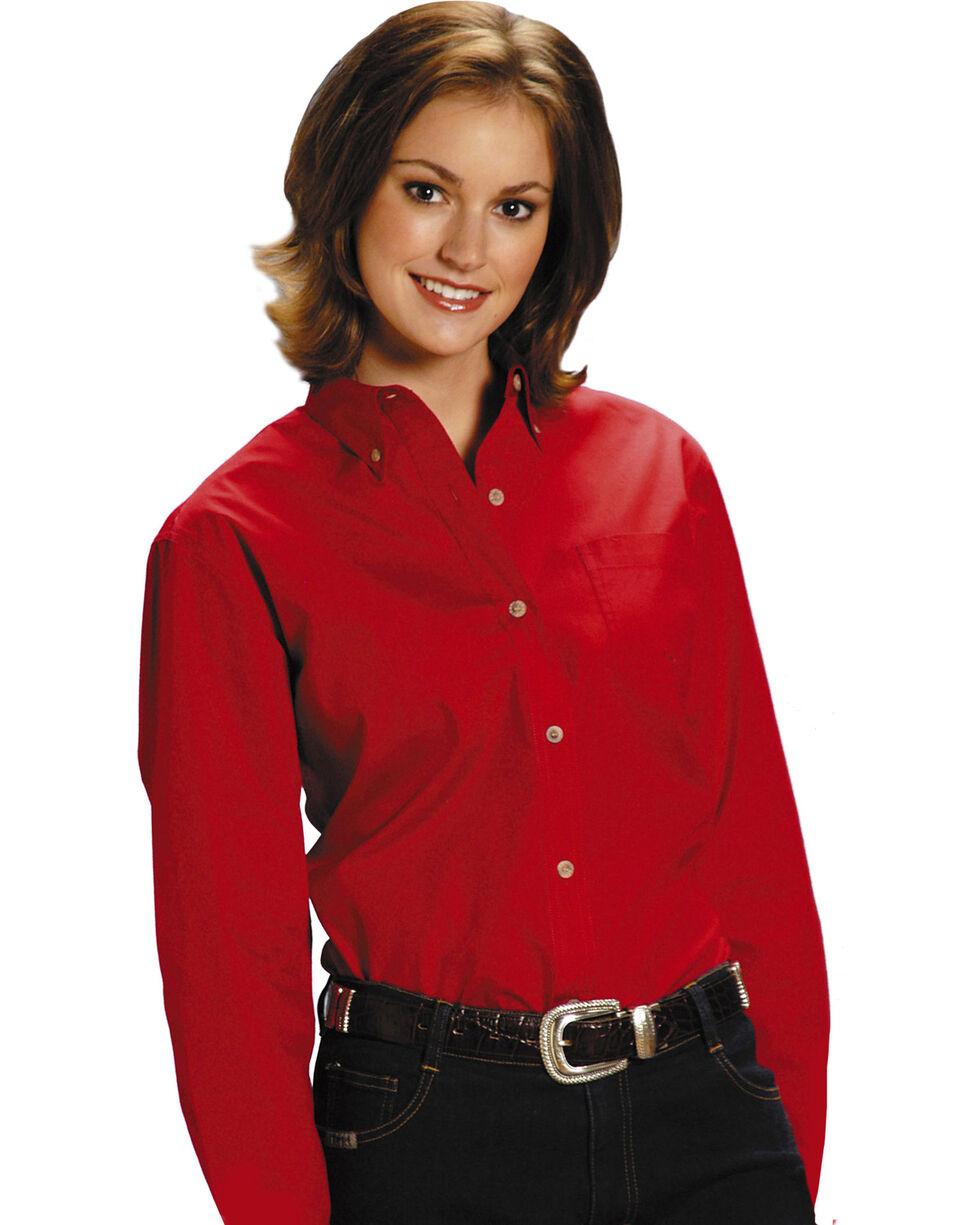 Roper Women's Amarillo Button Down Poplin Long Sleeve Western Shirt, Red, hi-res