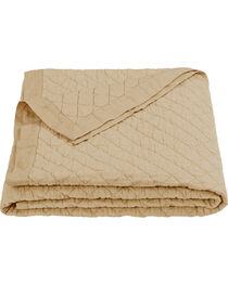 HiEnd Accents Diamond Pattern Khaki Linen King Quilt, Khaki, hi-res
