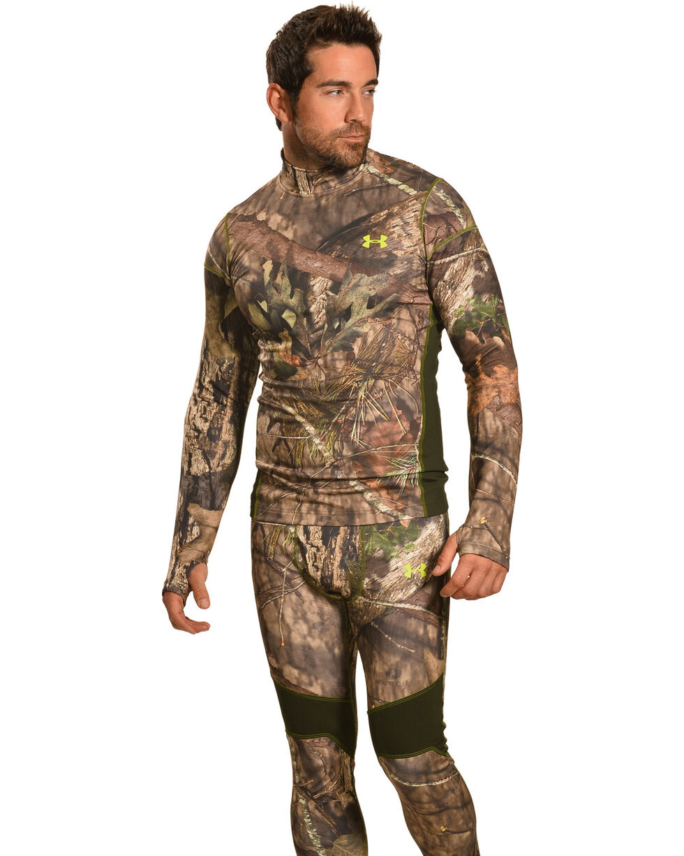 Under Armour Men's ColdGear Infrared Scent Control Camo Mock Top, Mossy Oak, hi-res